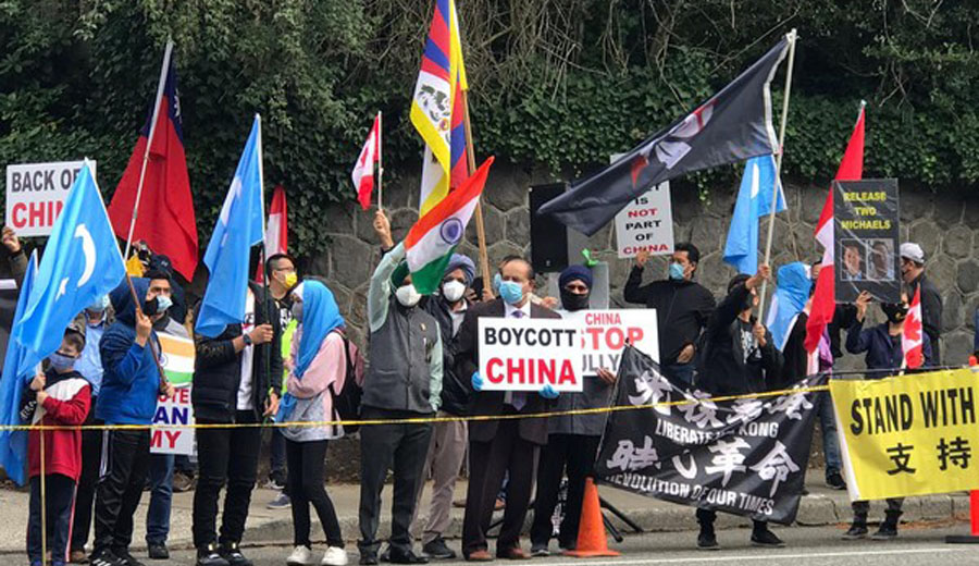 Friends of Canada- India, 7 other organisations stage protest against China in Vancouver