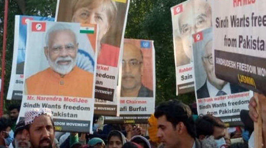 PM Narendra Modi`s poster seen at pro-independence rally at Pakistan`s Sindh