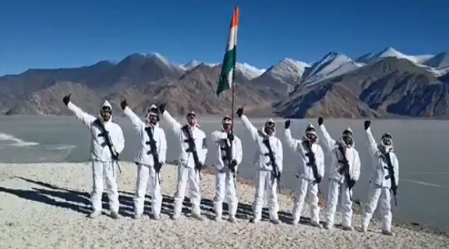 ITBP soldiers celebrate 72nd Republic Day in minus 25 degreee temperatures of Ladakh