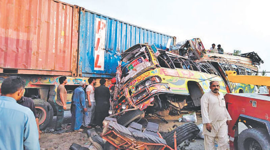 At least 34 killed in bus-trolley collision near Taunsa bypass
