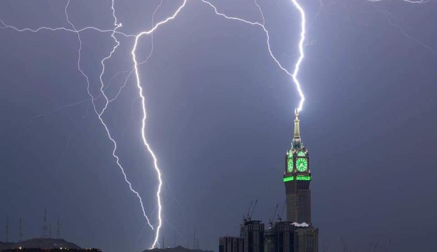 Lightning Strikes Clock Tower in Mecca