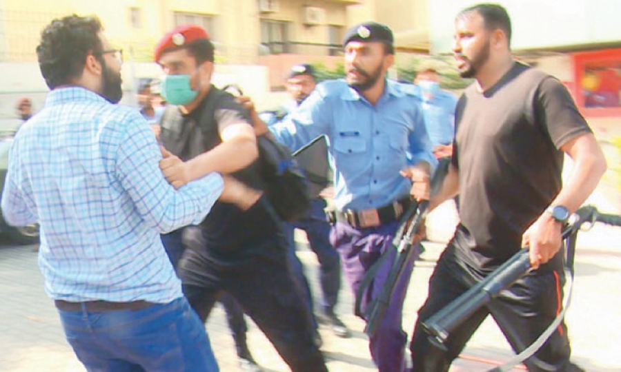 Police baton charged and ditain several young doctors during their protest rally in Islamabad